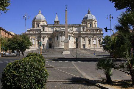 Basilica of Saint Mary Major with blue sky, Rome, Italy