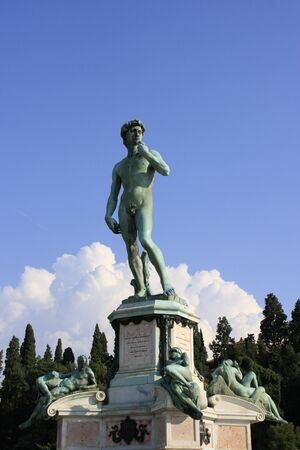 david and goliath: Statue of David by Michelangelo with blue sky, Florence, Italy Stock Photo