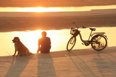 Person admiring sunset over river with dog and bicycle