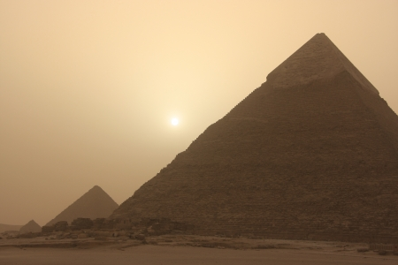 Pyramid of Khafre at sand storm, Cairo, Egypt photo