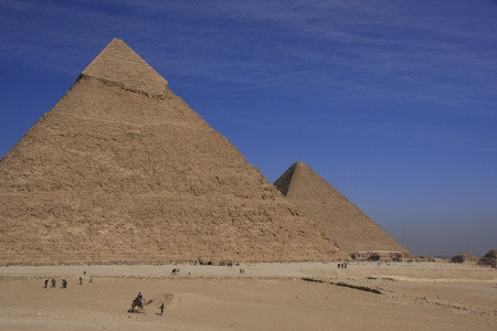 Pyramids of Khafre and Khufu with blue sky and clouds, Cairo, Egypt photo