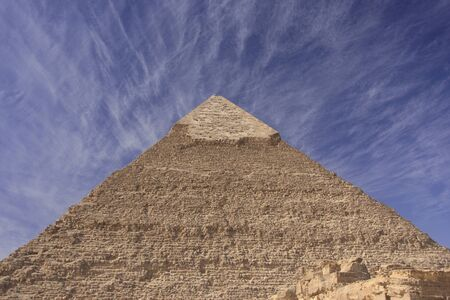 Pyramid of Khafre with blue sky and clouds, Caori, Egypt