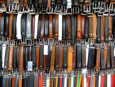 Display of leather belts