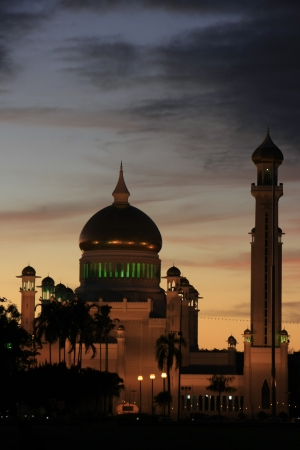 Sultan Omar Ali Saifudding Mosque with lights, Bandar Seri Begawan, Brunei, Southeast Asia Stock Photo - 14632624