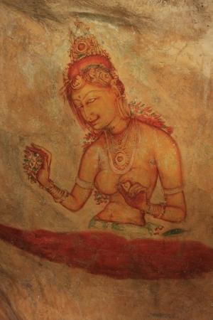 sigiriya: Wall painting, Sigiriya, Sri Lanka Editorial
