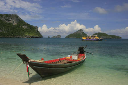 Longtail boat at the beach, Ko Mae Ko island, Ang Thong National Marine Park, Thailand