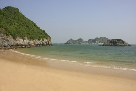 Beautiful empty beach, Cat Ba island, Halong Bay, Vietnam  photo