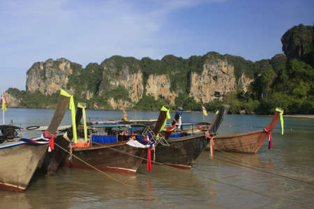 railay: Longtail boats at Railay beach, Krabi, Thailand