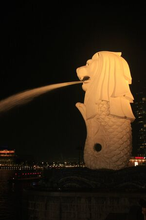 Merlion statue at night, Singapore
