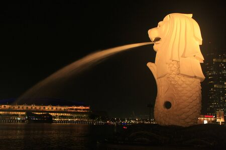 Merlion statue at night, Singapore