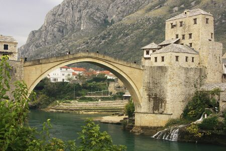 hercegovina: Town of Mostar and Stari Most in the evening, Bosnia and Hercegovina