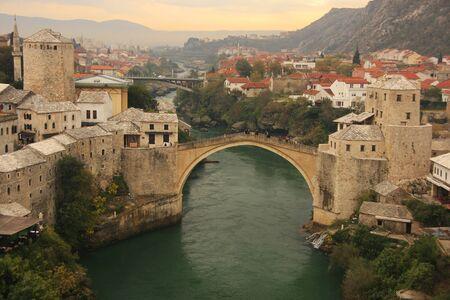 hercegovina: Town of Mostar and Stari Most at sunset, Bosnia and Hercegovina