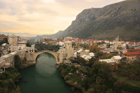 bosnia and hercegovina: Town of Mostar and Stari Most at sunset, Bosnia and Hercegovina