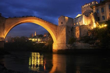 hercegovina: Stari Most at night, Mostar, Bosnia and Hercegovina Stock Photo