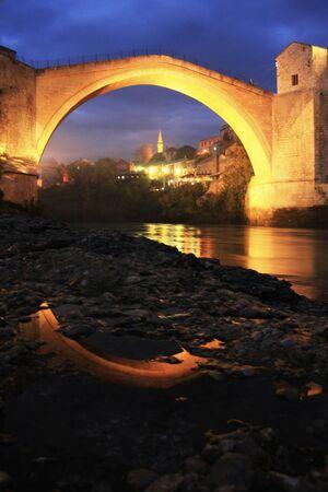 mostar: Stari Most at night, Mostar, Bosnia and Hercegovina Stock Photo
