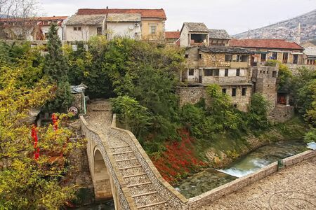 mostar: Crooked Bridge, Mostar, Bosnia and Herzegovina