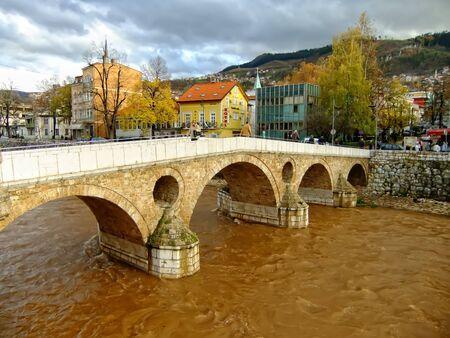 bosnia and hercegovina: Latin Bridge on Miljacko river, Sarajevo, Bosnia and Herzegovina