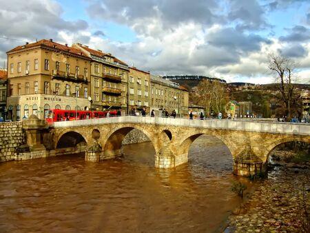 sarajevo: Latin Bridge on Miljacko river, Sarajevo, Bosnia and Herzegovina
