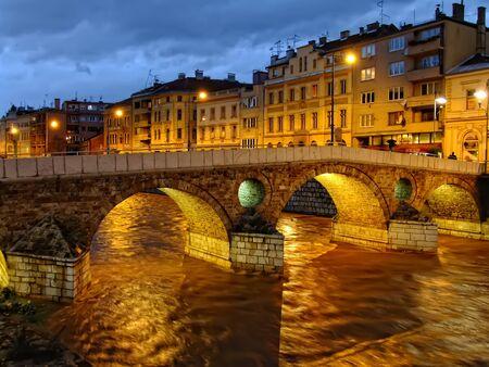 bosnia and hercegovina: Latin Bridge on Miljacko river at night, Sarajevo, Bosnia and Herzegovina
