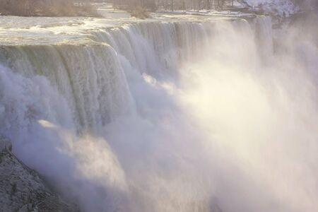 Close up of Niagara Falls in winter, New York, USA photo