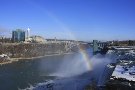 Niagara Falls and Rainbow Bridge in winter, New York, USA