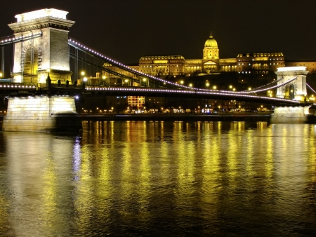 Chain Bridge and Parlament building at night, Budapest, Hungury