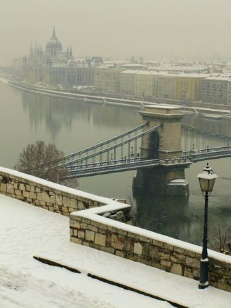 Parlament: Chain Bridge and Parlament building in winter, Budapest, Hungury