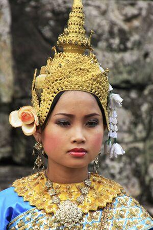 Apsara dancer performing at Bayon temple, Angkor area, Siem Reap, Cambodia