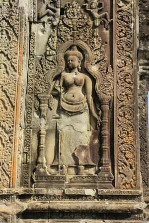 bas: Decorative carving, Phnom Bakheng temple, Angkor area, Siem Reap, Cambodia Stock Photo