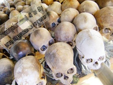 atrocity: Skulls of the victims, Killing Fields, Phnom Penh, Cambodia