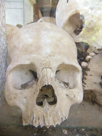 Skulls of the victims, Killing Fields, Phnom Penh, Cambodia