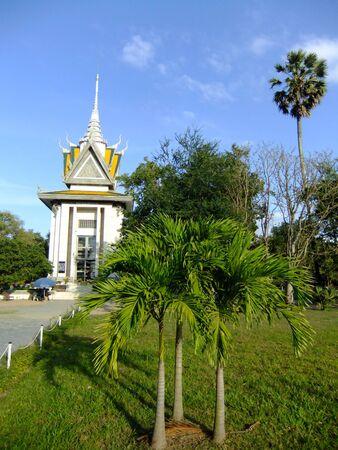 atrocity: Commemorative stupa, Killing Fields, Phnom Penh, Cambodia