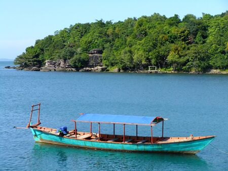 Traditionele houten boot, Sihanoukville, Cambodja, Zuid-Oost Azië