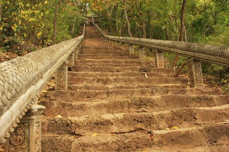 Trap naar Prasat Banan, Battambang, Cambodja, Zuidoost-Azië