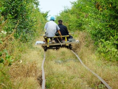 Bamboe trein, Battambang, Cambodja, Zuidoost-Azië Stockfoto