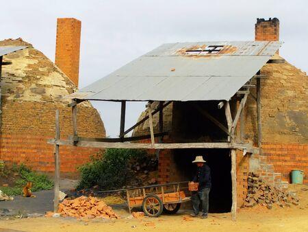 Local brick factory, Battambang, Cambodia, Southeast Asia
