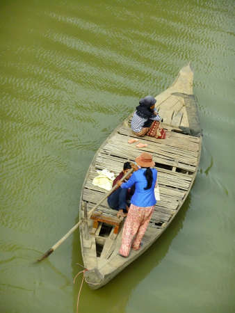 Traditional wooden boat, Cambodia, Southeast Asia