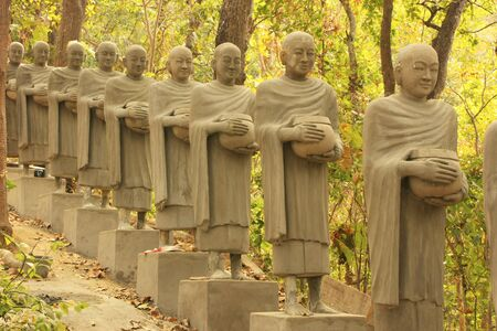 Statues of begging monks, Phnom Sombok, Kratie, Cambodia, Southeast Asia
