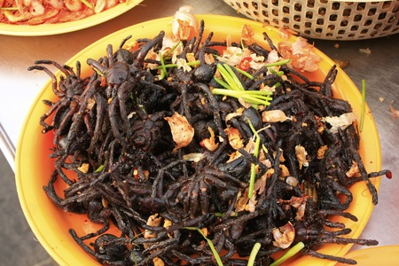 Fried insects for sale, Cambodia