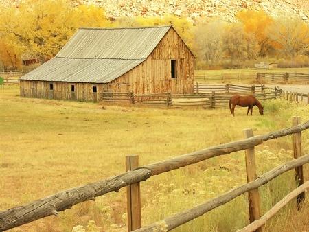 farmhouses: Gifford Barn, Capitol Reef National Park, Utah, USA