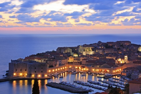 dubrovnik: Old Harbour with lights, Dubrovnik, Croatia Stock Photo