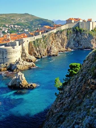 Fort Bokar en de oude stad van Dubrovnik, Kroatië Stockfoto