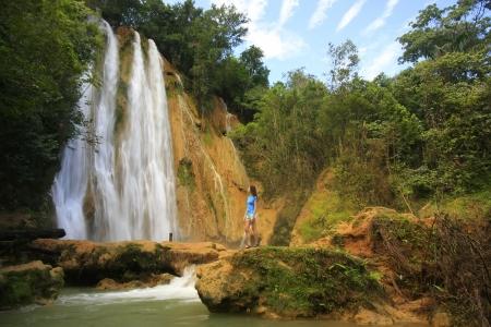 El Limon waterval, Dominicaanse Republiek Stockfoto