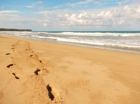 limon: Footprints in sand, Playa El Limon, Dominican Republic
