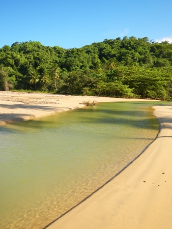 freshwater: Freshwater river on a beach, Playa El Limon, Dominican Republic Stock Photo