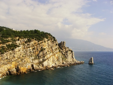 Sail rock near Swallow s nest castle, Crimea, Ukraine photo