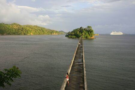 nowhere: Bridge to Nowhere, Samana Bay, Dominican Republic Stock Photo