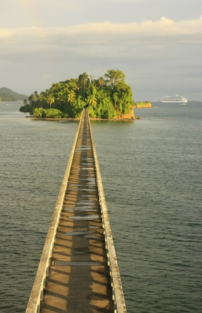 republic dominican: Bridge to Nowhere, Samana Bay, Dominican Republic Stock Photo