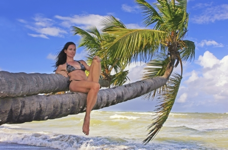 Young woman in bikini sitting on palm trees, Bonita beach, Dominican Republic
