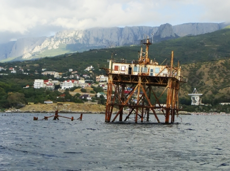 oceanographic: Old oceanographic platform near Simeiz, Crimea peninsula, Ukraine